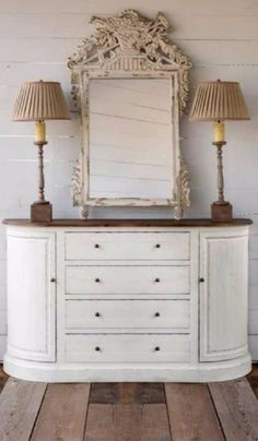 French White Farmhouse Sideboard (Home Decor). Antique White Paint Finish On bottom. Painted Sideboard, Painted Furniture, Antique White Paints, White Farmhouse, Paint Finishes, Home Accents, Mirror, Twins, Painting