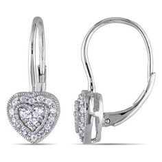 I've tagged a product on Zales: Lab-Created White Sapphire Heart Drop Earrings in Sterling Silver