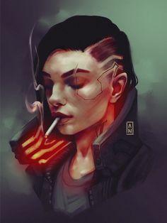 Some good Sombra x Cyberpunk 2077 art Cyberpunk 2020, Cyberpunk Kunst, Cyberpunk Girl, Cyberpunk Tattoo, Cyberpunk Fashion, Character Portraits, Character Art, Character Concept, Cyberpunk Aesthetic