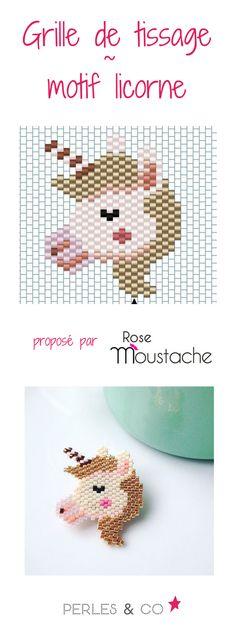 On adore les licornes, cet animal féérique et fantastique, tellement mignon. grâce à Emmanuelle du blog Rose Moustache, voici la grille de tissage pour réaliser ce motif licorne en perles Miyuki 11/0, idéal pour une broche. retrouvez la grille de tissage sur le site de Perles & Co