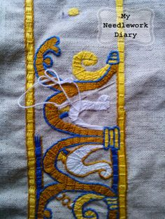 Embroidery Techniques, Embroidery Stitches, Hand Embroidery, Embroidery Ideas, Medieval Embroidery, Craft Cupboard, Bayeux Tapestry, Historical Art, Gold Work
