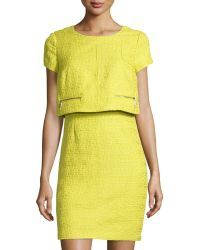 Laundry by Shelli Segal | Tweed Short-sleeve Popover Dress | Lyst