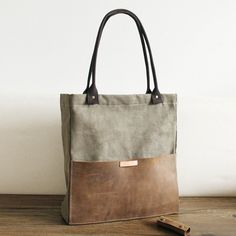 Handcrafted Canvas and Leather Casual Tote Bag Shopper Bag Handbag Shoulder Bag 14051 - LISABAG - 1