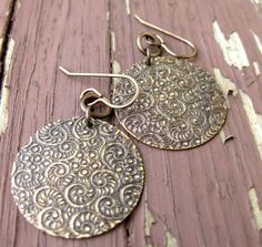 Embossed Circle Metal  Earrings by TinyYellowKeyDesigns on Etsy, $14.00