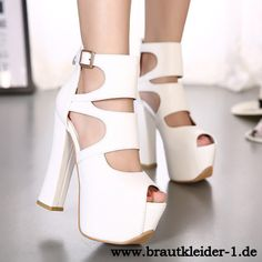 Sexy Heels Plateau Pumps in Weiß fuer den Standesamt