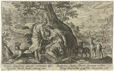 Crispijn van de Passe (I) | Apollo en Hyacinthus, Crispijn van de Passe (I), 1602 - 1607 | Apollo is verliefd op de Spartaanse prins Hyacinthus en leert hem discuswerpen. De jaloerse Zephyrus (de Westenwind) werpt de discus tegen de schedel van Hyacinthus die dan dood neervalt. Op de plek waar zijn bloed terecht komt schiet een hyacint uit de aarde. In de marge een vierregelig onderschrift, in twee kolommen, in het Latijn.