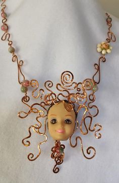 Dulcinea (one of the Omigawd Becky necklaces/Small Arms Jewelry) is done and she sure lives up to her name!  Copper wire twisted and forged, vintage earring and candy jade beads. Gilding the Lily by Candace Eck