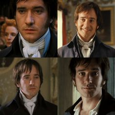 Mr. Darcy... Watch as his neck slowly undresses itself throughout every Pride and Prejudice film adaptation. Also note the hair transformation that takes place.