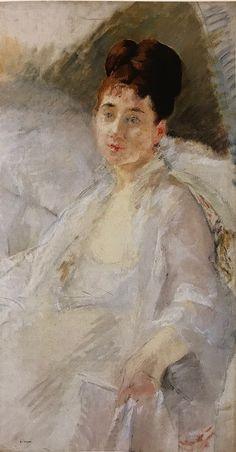 La convalescente ou Portrait de femme en blanc, 1877-79, fusain et huile sur toile, 86 x 47,5 cm, Ordrupgaard 19th Century, Artists, Woman, Painting, Charcoal Picture, Oil On Canvas, Women's, White People, Artist