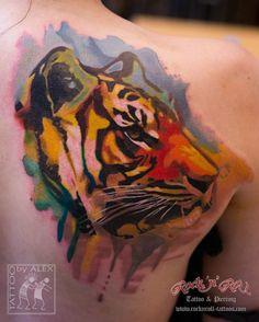 Tiger chest tattoo by Oleksandr Minec #InkedMagazine #tiger #tattoo #tattoos #inked #ink #art