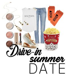 """""""Untitled #73"""" by dwynette-sawyer ❤ liked on Polyvore featuring Terre Mère, Balmain, West Bend, Marc Jacobs, DateNight, drivein and summerdate"""