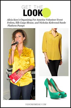 Get the Look-0717-Alicia Keys's Organizing For America Volunteer Event Fedora, Silk Cargo Blouse, and Nicholas Kirkwood Suede Platform Pumps
