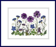 Pressed Flower Art -  A Blue Garden - Made in Vermont