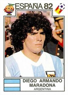 A younger, hairier Maradona in 1982 Soccer Fifa, Top Soccer, Football Stickers, Football Fans, College Football, Argentina Football Team, America Album, Diego Armando, International Soccer