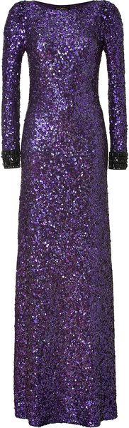 JENNY PACKHAM Sparkling Violet Allover Sequin Dress