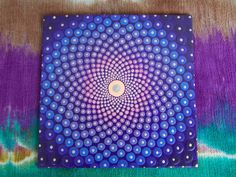 Sacred Geometry Mandala, Dot Mandala, Art by Kaila Lance, Mediation Art, Pointillism, Dot Art, 5in Canvas Board, Mandala Painting by KailasCanvas on Etsy