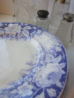 Antique french transferware plates.
