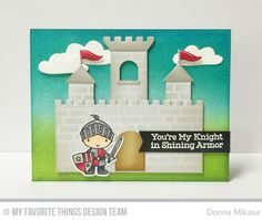 Knight in Shining Armor Stamp Set and Die-namics, Castle Die-namics, Cloud 9 Die-namics, English Brick Wall Stencil - Donna Mikasa  #mftstamps