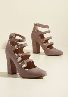 Buckle the System Heel | Mod Retro Vintage Heels | ModCloth.com Go rogue and go retro with these mauve block heels from Report Footwear! As sassy as they are strappy and as bold as they are silver buckle-filled, these faux-suede - but leather-lined - kicks prance past the norm.