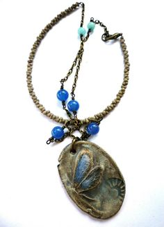 ceramic pendant, peanut glass beads, stone, chain, jewelry, necklace, http://www.mckeejewelrydesigns.com/ 	 Andria McKee, McKee Jewelry,  McKee Jewelry Designs,   Hand made jewelry, jewellery