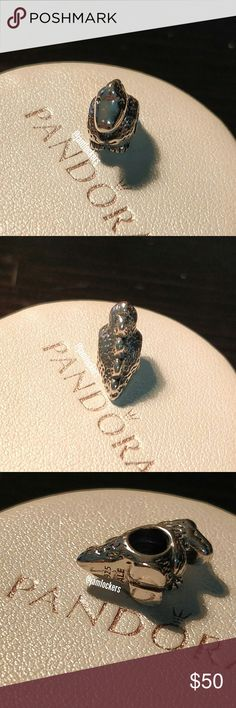 Dinosaur charm, Pandora retired RETIRED & RARE!   *HALLMARKED S925 ALE* Item No. 790407 HARD TO FIND!  Pre loved condition  I'm selling from my personal collection. All are guaranteed authentic as they've only been bought from a Pandora store or Pandora.net.  I will also polish before shipping. Box not included.   Priced competitively/ No trades/ No holds Check out my other listings for more Pandora items and exclusives! Pandora Jewelry Bracelets
