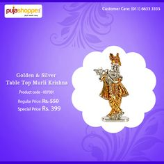 Gold & Silver Table Top Murli Krishna   This is exclusively  made of Ashtadhatu is beautifully handcrafted and perfectly finished divine item.   Keep this exquisite Murli Krishna in your house or workplace to bring love and happiness.  Add a religious and traditional touch to your home interiors with surreal and distinctive showpiece by PujaShoppe.com    Dimensions :W*3.7, D*1.8, H*8.5 cms  Weight : 72 Grams    #PujaShoppe #DivineGifts #AshtadhatuMurliKrishna