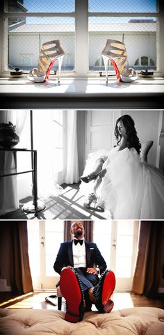 Dont forget his shoes!! and i like the layout of the three shots- Glitzy Christian Louboutin wedding shoes complete this fairytale celebration, captured by Callaway Gable Photography