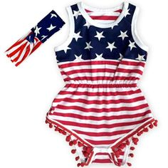 Show your little princess off in this super cute red, white and blue American flag pom pom romper and top knot headband set. Pom pom rompers are a must have! Made of super soft stretch material for a