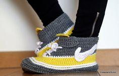 Crochet Adult Nike Air inspired high tops Women by SneappersStudio