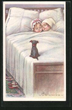 Künstler-AK E.Colombo: zwei Kinder schlafen im Bett, Hund 0