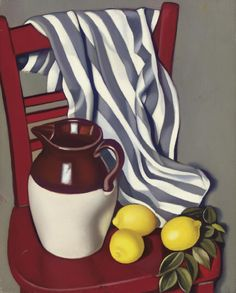 'Cruche et citrons sur une chaise'- by Tamara de Lempicka OIL Poland) & (pitcher and lemons on a chair) Painting Still Life, Still Life Art, Tamara Lempicka, Estilo Art Deco, Art Deco Movement, Art Deco Era, Art Deco Fashion, Painting & Drawing, Oil On Canvas