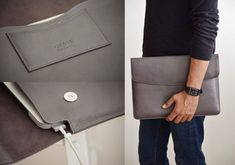 Gray leather laptop sleeve for 13 inch MacBook Pro - Foggy laptop case - Personalized - Monogrammed Grey Leather, Cow Leather, Leather Craft, Best Graduation Gifts, Macbook Pro Case, Macbook Air, Leather Laptop Case, Computer Sleeve, Suede Fabric
