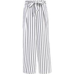 Side Knot Stripe Wide Leg Pants (€12) ❤ liked on Polyvore featuring pants, zaful, striped pants, stripe pants, white trousers, wide-leg pants and wide leg trousers