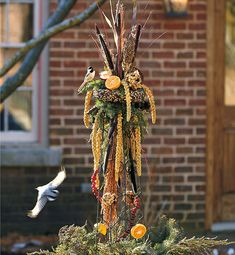 Bird-Feeding Obelisk: Keep the birds well fed in fall and winter with this beautiful bird-feeding obelisk full of high energy treats they will love! Suet Bird Feeder, Bird Seed Feeders, Black Oil Sunflower Seeds, Bird Seed Ornaments, Lotus Pods, Buffet, Mourning Dove, Birds And The Bees, Floral Foam