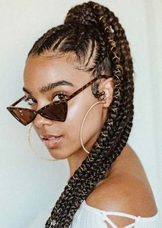 37 Cute Fulani Braids Ponytail Hairstyles for Season 2018 # fulani Braids ponytail Box Braids Hairstyles, Braided Ponytail Hairstyles, Braided Hairstyles For Black Women, Braided Hairstyles For Wedding, 1930s Hairstyles, Wedding Ponytail, Wedding Braids, Black Hairstyle, Hair Updo