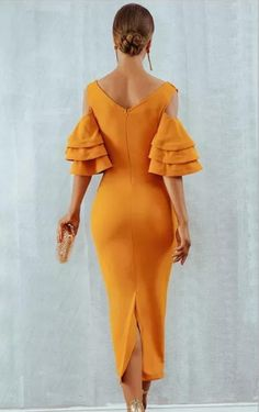 Raised Me Right Elbow Sleeve Ruffle Cross Wrap V Neck Cold Shoulder Bodycon Midi Dress - 7 Colors Available Stunning Wedding Guest Dresses, Beautiful Dresses, Midi Dress With Sleeves, Orange Dress, African Dress, Dress Backs, Ruffle Dress, Ruffles, Party Dress