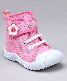 Take a look at this Pink & White Flash Flower Hi-Top Sneaker by Blow-Out on #zulily today!