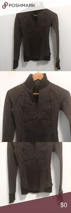 """Lululemon """"Runderful"""" Pullover- 2 Lululemon """"runderful """" pull over hethered Gray- size 2 The fabric alone feels like butter. It's made from a lightweight, wicking nylon/lycra blend called """"luon."""" It has has cuffins so your fingers  can be covered when it gets really cold.  📍in great pre loved condition- no stains rips. Minor wear. There is no tag but I bought this and it is a size 2. Non smoking 🏡   Measurements laying flat Pit to pit-14"""" Length-23""""  📌I have sold over 100+ items with a 5…"""