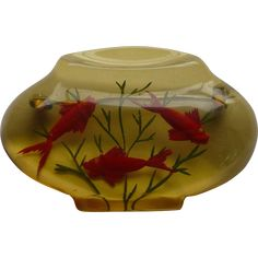 Bakelite Fishbowl Reverse Carved Pin   -- found at www.rubylane.com #vintagebeginshere