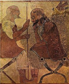 Lastra di terracotta dipinta (tipo «Lastre Boccanera»), raffigurante due uomini seduti, dalla Necropoli della Banditaccia (Cerveteri).