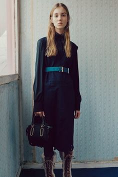 Long sleeve dress, belt, tights, casual lace up boots. See the complete See by Chloé Fall 2016 Ready-to-Wear collection.