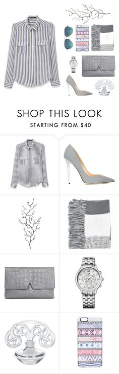 """""""Stripes"""" by pear-drop ❤ liked on Polyvore featuring MANGO, Jimmy Choo, Universal Lighting and Decor, Topshop, Vince, Tommy Hilfiger, Lalique, Casetify, Tiffany & Co. and women's clothing"""