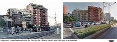 """Estacion de L' Hospitalet-centro de Av. Carrilet del """" Boleto Verde"""" año 1985 y en la actualidad"""