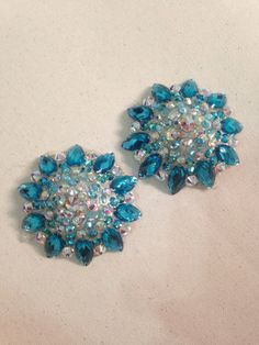 Blue and crystal AB Swarovski elements pastie by GloriousPasties, $65.00