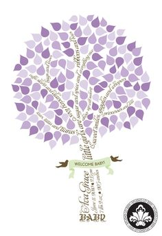 SIGNATURE BABY Shower tree. Baby Girl. Guest book alternative. (T1) 16x20 - 135 signatures. StudioLO2011. $45.00, via Etsy.