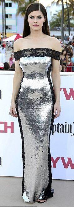 "Alexandra Daddario in Azzaro attends the ""Baywatch"" Miami premiere. #bestdressed"