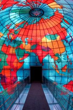This world-famous, three-story, stained-glass globe is one of the key attractions at the Library. The Mapparium's three-dimensional perspective of the world of 1935 is enhanced byA World of Ideas, an original presentation that features a rich orchestration of words, music, and LED lights to illustrate how ideas have traversed time and geography and changed the world.