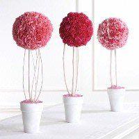 Décoration de table - Centre de table bouquet de fleurs roses boules en forme d'arbre