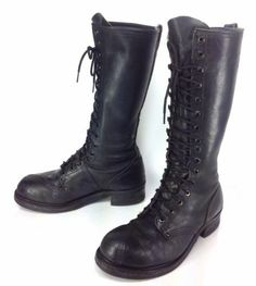 Men's Linesman Black Leather Tall Knee High Steel Toe Logger Boots Sz 8 1/2 - 9