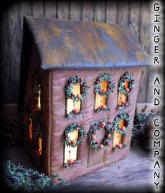 This New England Saltbox House Luminare measures a large 12 Tall x 8 Deep x 8 1/2 Wide. Pattern comes with directions for wreaths, oranges, candles and window glass! Don't Miss Out! More Colonial inspired houses are being added to scale! Pattern has been registered and copyrighted (C) 2011.